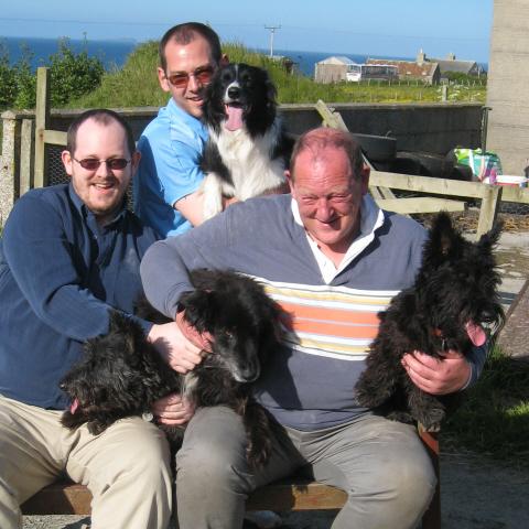 left to right: Ben, Nick, Steve; dogs Scottie, Taz, Bess, Ben