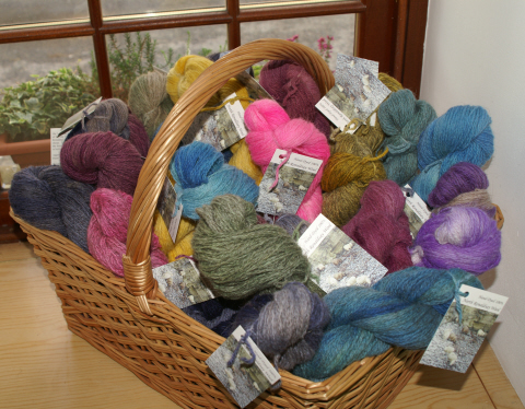 basket of North Ronaldsay hand-dyed skeins