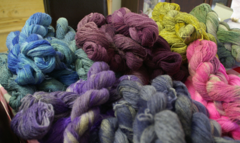 Hand dyed North Ronaldsay skeins