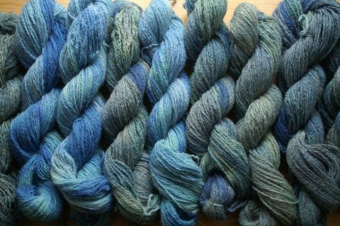 turquoise North Ronaldsay skeins