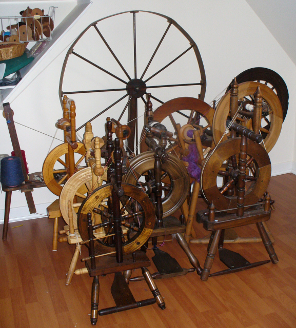 Kathy Coull's spinning wheels