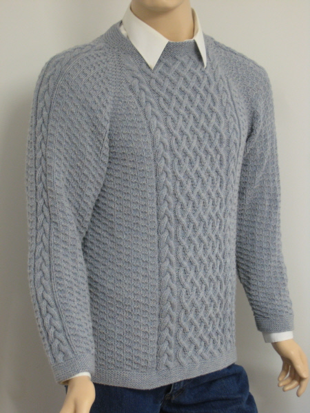 Lattice cable sweater men