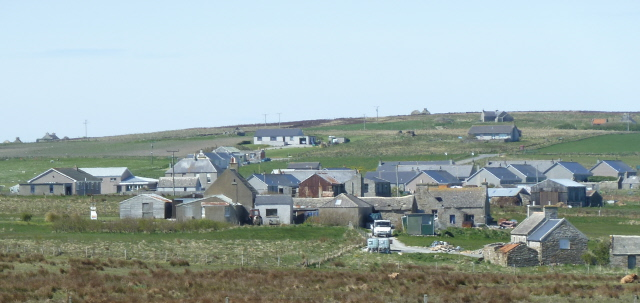 The Flotta School, on the left, is in the heart of the community.