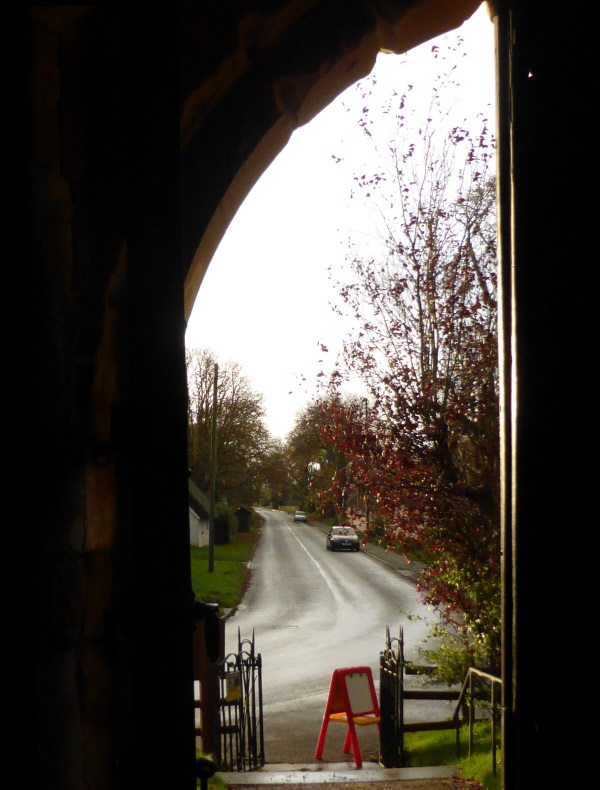 Looking down Thimbleby main street from the church