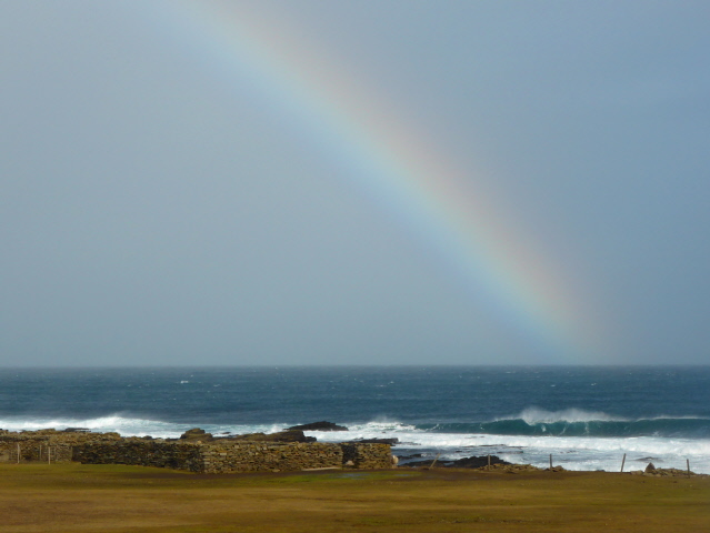 Orkney is a land of rainbows.  This one off the north eat point of the island.