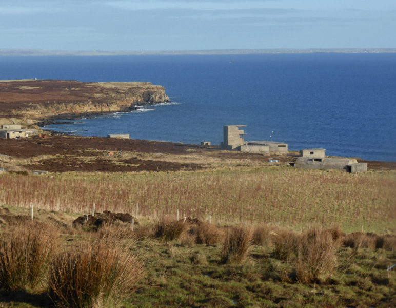 Buchanan Battery, one of the gun emplacements left from WWII. Looking over Scapa Flow towards Kirkwall.