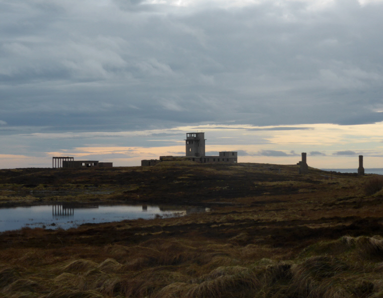 The remains of WWII buildings on Stanger Head. The observation tower looked over the Sound of Hoxa, one of the main entrances to Scapa Flow.
